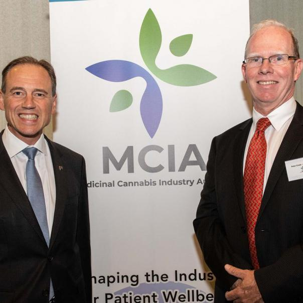 Greg Hunt Minister for Health and Peter Crock Chair MCIA